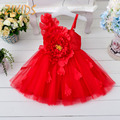 Oblique Shoulders Print Girls Dress for Wedding Party Cute Tulle Princess Dress Appliques Flowers Kids Clothes 2016 New Fashion