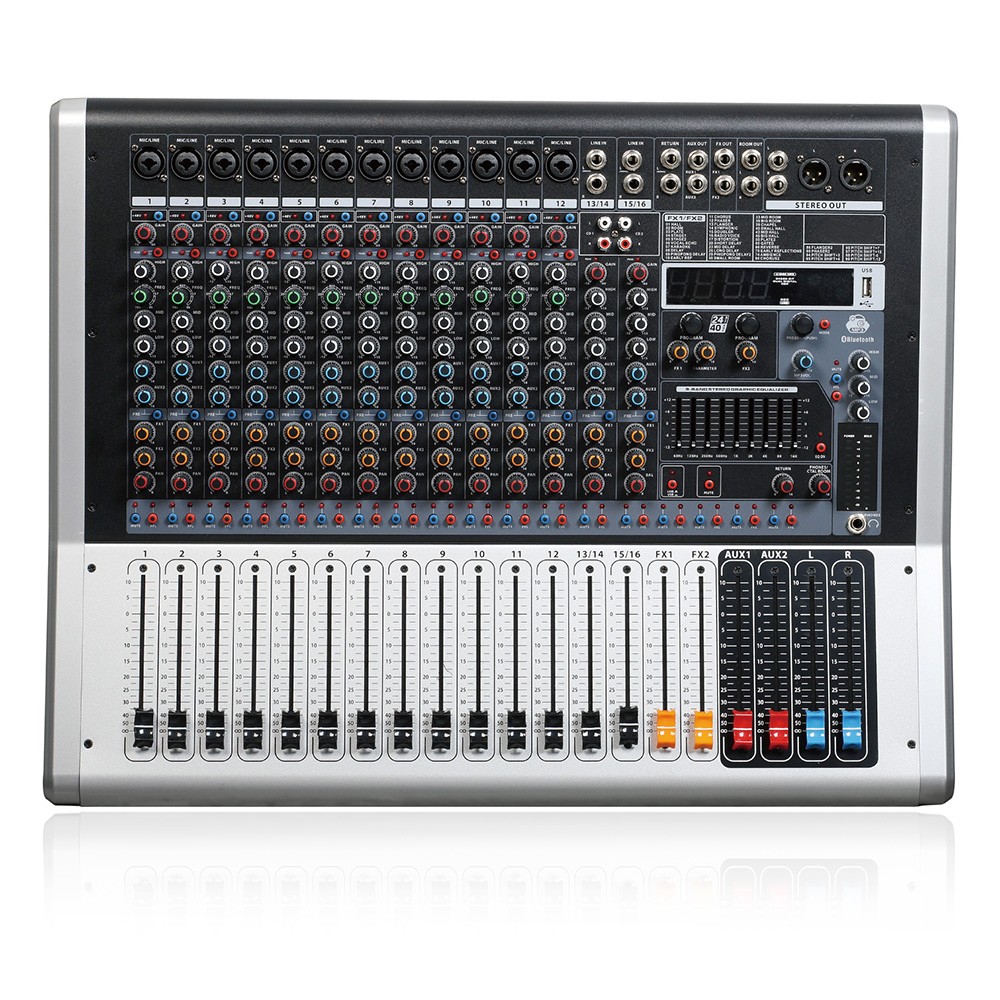 Mixing console recorder 48 V phantom power monitor AUX effect path 8 16 channel audio mixer