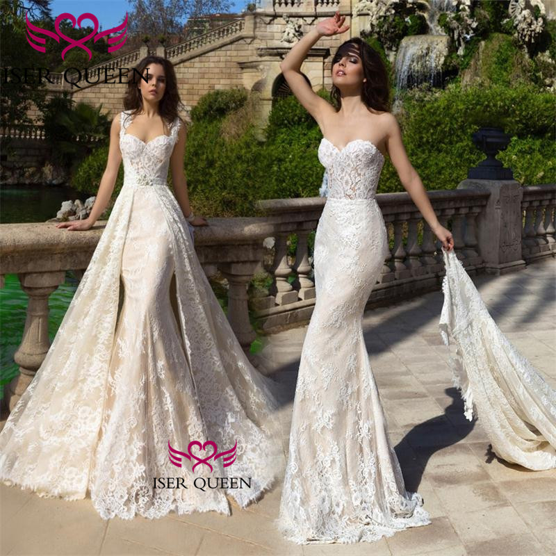 Embroidered Lace Wedding Dress 2020 Detachable Train Spanish Bride Dresses Vintage Vestidos De Novia Sweetheart Neckline W0523