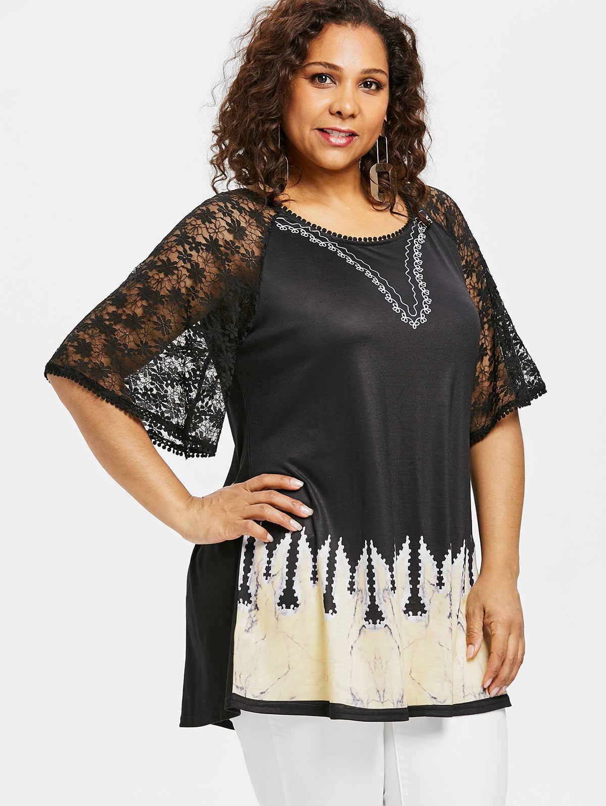 65f04ebc ... Rosegal Plus Size Ethnic Print Lace Long Tee Women T-Shirt Summer  Casual O Neck ...