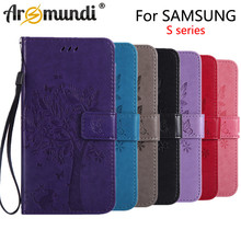 Arsmundi Wallet Cover Stand Phone Case S3 S4 S5 S6   mini edge plus S7 S8 note Coque Flip Leather Case For Fundas Samsung Galaxy