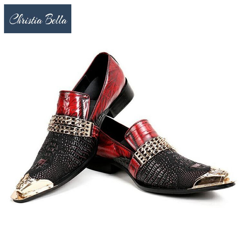 Christia Bella Fashion Italian Men Dress Shoes Retro Genuine Leather Crocodile Grain Men Shoes Party Wedding Slippers Plus Size