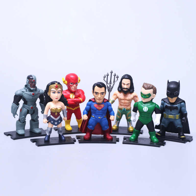 DC Comics Superman Batman Mulher Maravilha Super-heróis Brinquedos 7 pçs/set O Flash Lanterna Verde Aquaman Cyborg PVC Figuras Brinquedos