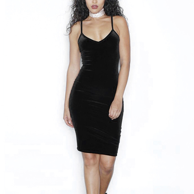 Women Spaghetti Strap V Veck Clubwear Slip Dress Velvet Deep V Neck Bodycon Dress Summer Sexy Party Club Dress