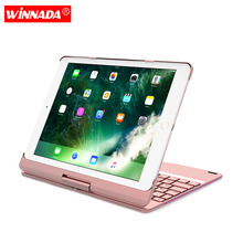 Case for ipad 2018 / 2017 / air / air 2 / Pro 9.7 inch with Backlit Bluetooth Keyboard 360 degree rotate full body cover