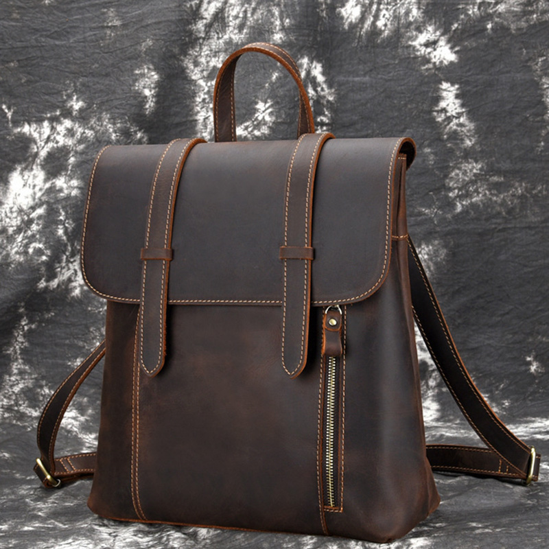 Vintage Crazy horse leather Men Backpack Brown genuine cowhide leather women rucksack daypack 14 laptop bags