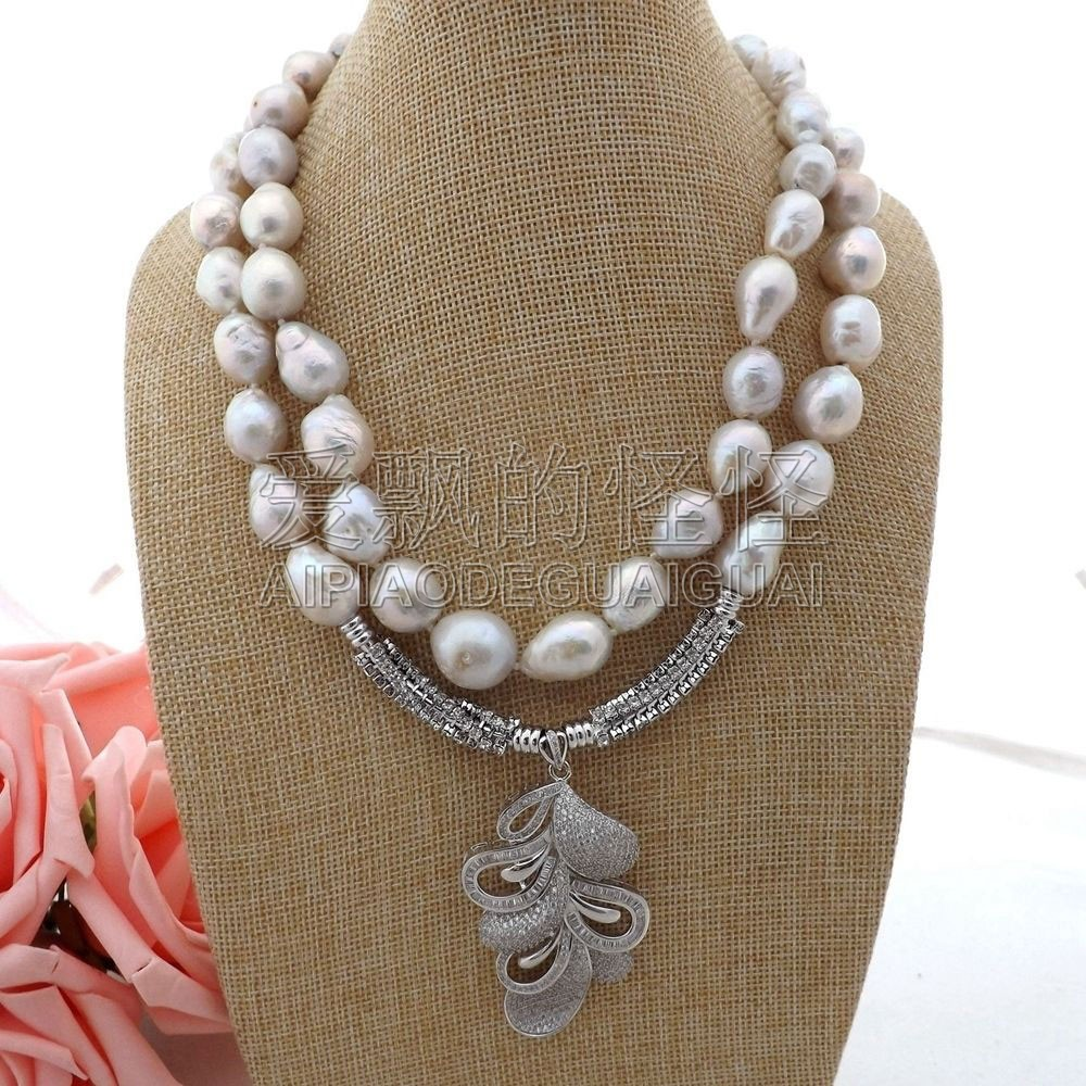 N062307 18 2 Strands White Keshi Pearl Necklace CZ PendantN062307 18 2 Strands White Keshi Pearl Necklace CZ Pendant