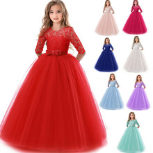 Girls Lace Half Sleeve Dress Kid Girls First Communion Dresses Tulle Lace Wedding Princess Costume For Junior Children Clothes(China)