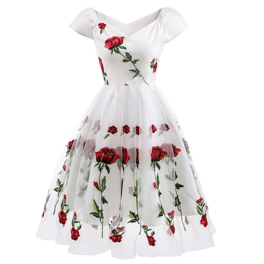 Roiii Woem Rose Embroidery Vintage Style 1950s Weeding Party <font><b>Dress</b></font> Sexy V-Neck A-Line Slim Wing <font><b>Tan</b></font> Female Plus Size Summer