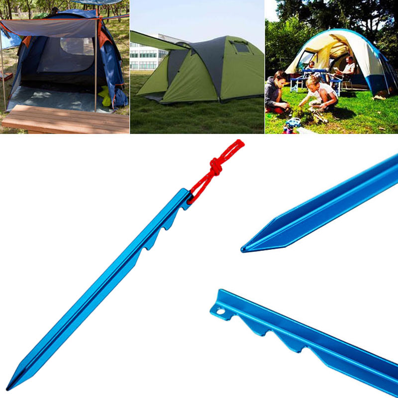 High Quality 10pcs Tent Pegs Aluminum Stake with Rope Outdoor Camping Accessories NCM99