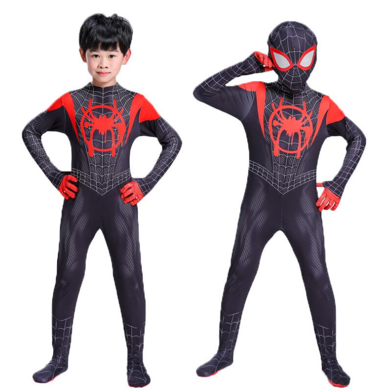 new-2018-kids-spider-man-into-the-spider-verse-miles-morales-cosplay-costume-zentai-spiderman-pattern-bodysuit-suit-jumpsuits