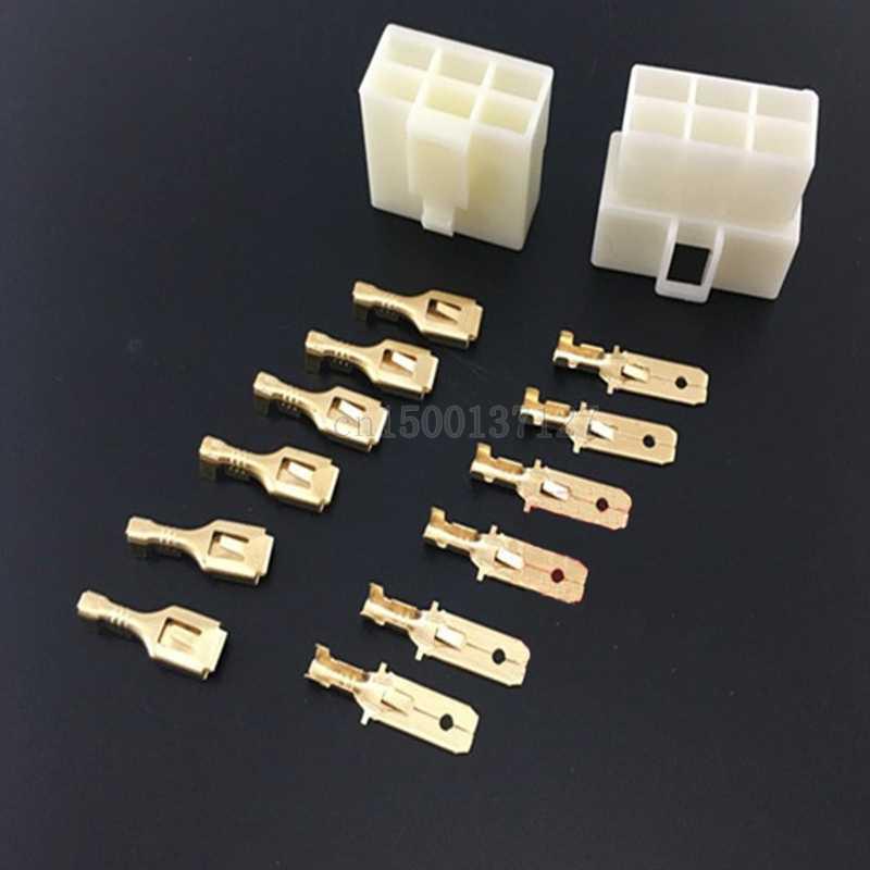 6.3mm 1/2/3/4/6/8 pin otomotiv 6.3 elektrik teli konnektör erkek kadın kablo terminali fiş setleri motosiklet ebike araba