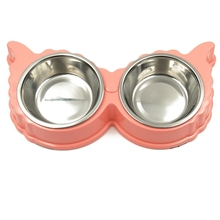 Cute Butterfly Shaped Dog Bowl Stainless Steel Puppy Cat Food Bowls Plastic Pet Double Bowls Anti Slip Container Pet Supplies