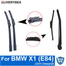SLIVERYSEA Front and Rear Wiper Blade Arm For BMW X1 E84 2009 Onwards 5 door SUV High quality Natural Rubber Windscreen sliverysea rear windscreen wiper and arm for honda airwave 2009 onwards 14 5 door wagon high quality iso9000 natural rubber