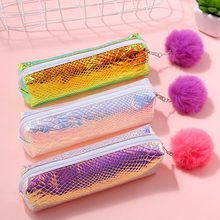 Hot Sale Kawaii Sequins Pencil Cases For Girls Laser School Pen Bag Cosmetic Bag Stationery Pouch Office Supplies Storage Bag(China)