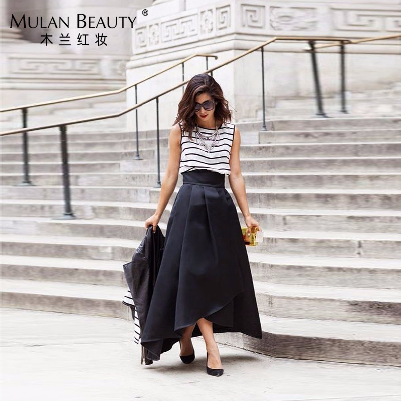 Fashion Custom Made Black Satin Pleated Skirts For Women Zipper Maxi Skirt To Formal Party 2017