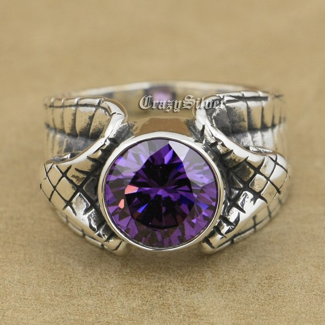925 Sterling Silver King Cobra Snake Light Amethyst CZ Biker Rocker Punk Ring 9K033 US Size 8~14