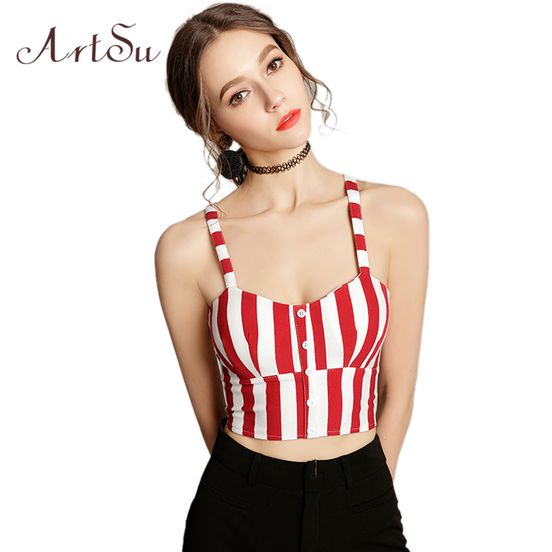 Artsu Koreanische Art Striped Bustier Top Nette Kawaii Sleeveless Boho Strand Streetwear Rot Crop Top Mujer Sexy Kurze Top Asve20217 Bestellungen Sind Willkommen.