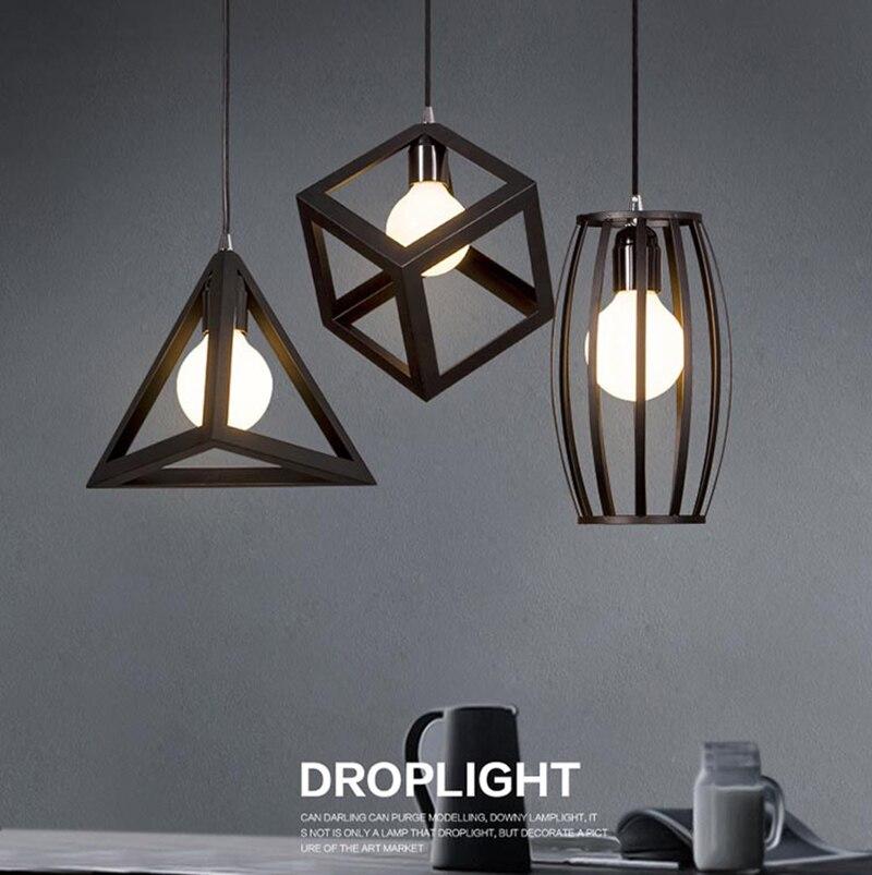 Vintage rétro pendentif lumières lampe à LED en métal cube cage abat-jour éclairage suspendu luminaire HM33
