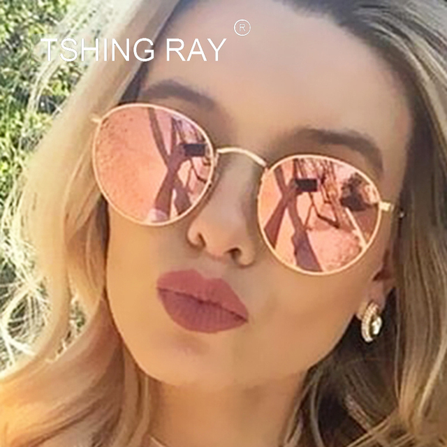 TSHING RAY Classic Vintage Small Round Sunglasses Retro Men Women Brand  Designer Metal Pink Mirror Sun Glasses Female Lady UV400 320ffd8edc