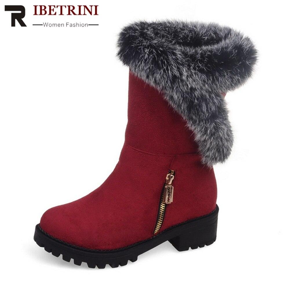 RIBETRINI Thick Fur Addable Faux Fur 1.5cm Platform 4cm Med Square Heels Zip Ankle Boots For Women 2019 Large Size 30-52