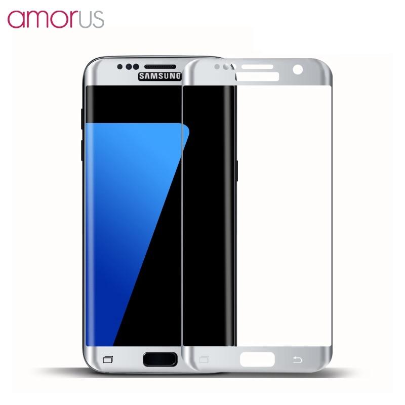 imágenes para Tamaño completo Cubierta para Samsung S7edge 5.5 AMORUS Completo Plateado Protector de Pantalla de Cristal templado para Samsung Galaxy S7 borde 5.5 G935