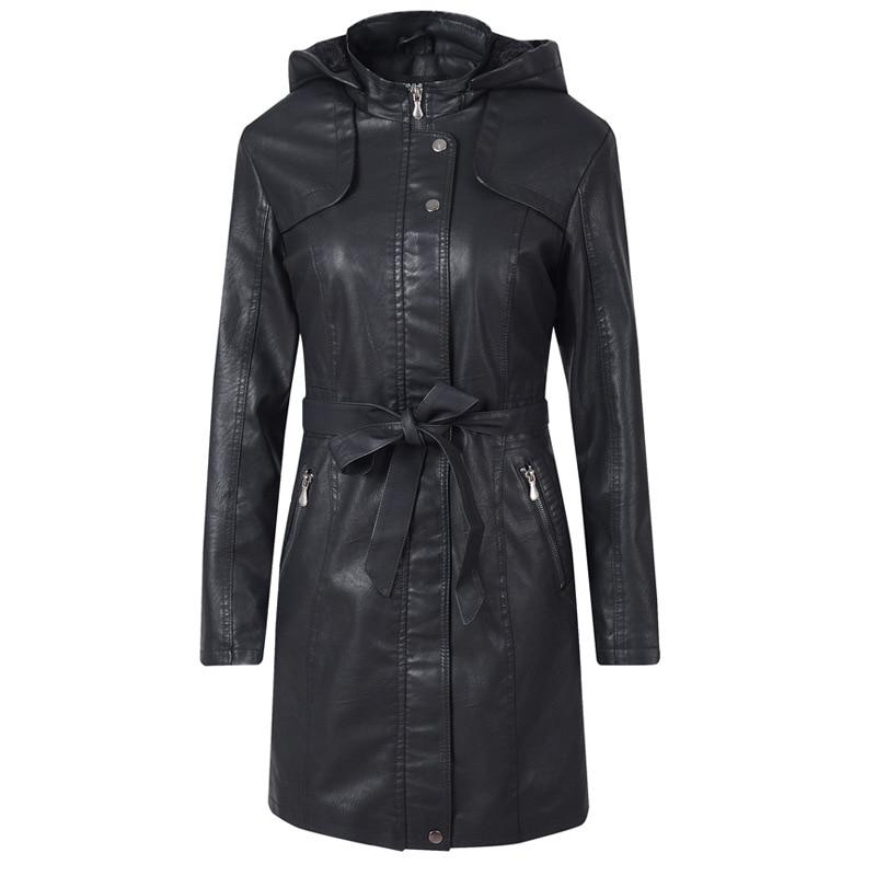 Women Black Overcoat Winter Girls Hooded Jacket PU   Leather   Long Sleeve Lady Warm Thick Faux   Leather   Windbreaker Female Top Coat