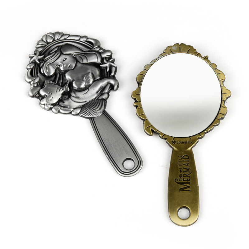 The Mermaid Makeup Mirror Flower Hand Hold Oval Round Cosmetic Mirror Noble Restore Ancient Style Court Mirrors Beauty Tool
