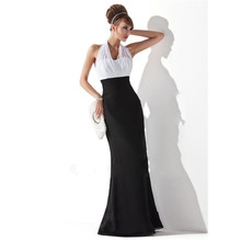 New Design Halter Collar White and Black Chiffon Long Prom Dress Elegant Off the Shoulder Floor Length Party Gowns Vestidos