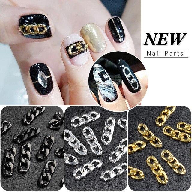 Elecool 10pcs Goldsilverblack Nail Art Chain Ornaments 3 Buckle