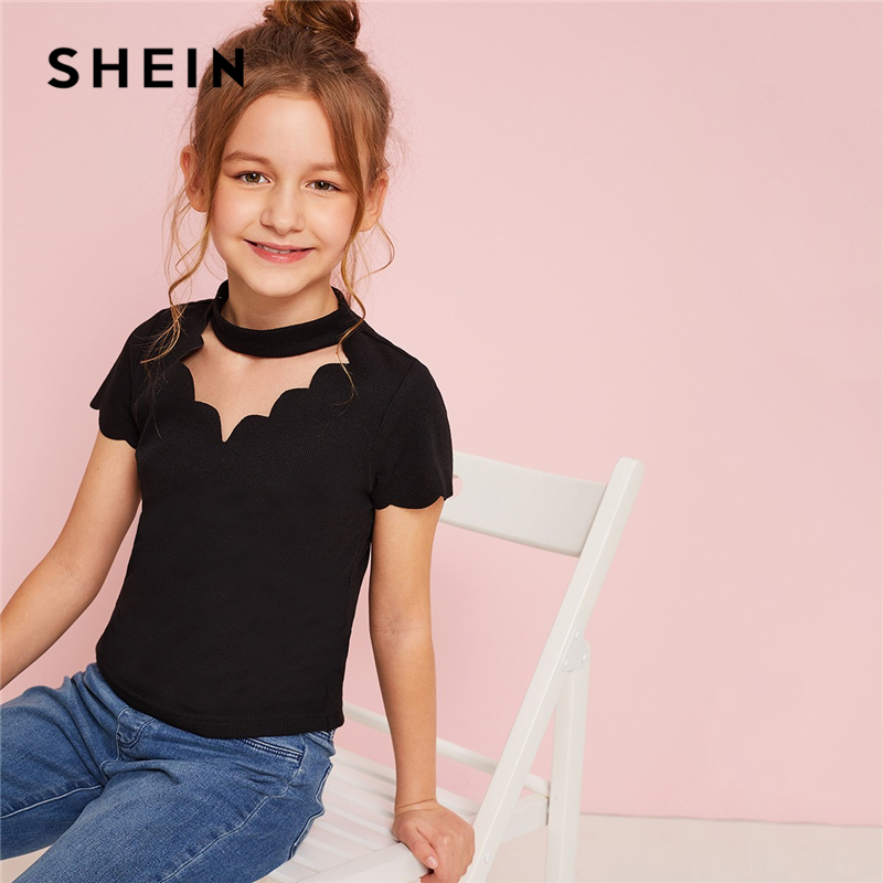 SHEIN Kiddie Toddler Girls Black Scalloped Choker Neck Ribbed Cute Tee Kids Top 2019 Summer Short Sleeve Cut Out Casual T-Shirts