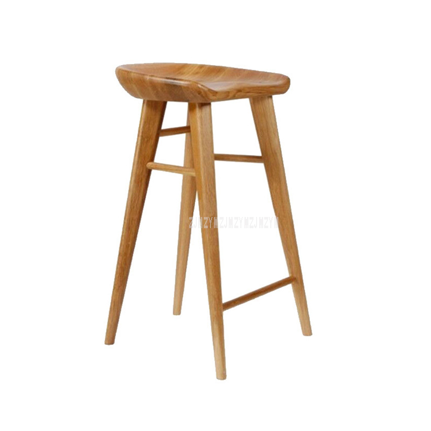 Nordic Style Modern Bar Counter Stool Full Solid Wood High Footstool Natural Pinewood Coffee Shop Minimalist Bar Stool For Home