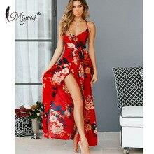 Miyouj Floral Print Long Beach Dress Women Sexy Halter Beachwear Red V Neck Maxi Dresses Split Vestido De Praia Summer Swim Suit