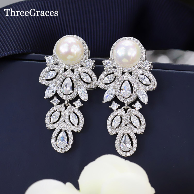 ThreeGraces New Bridal Jewelry 925 Sterling Silver Cubic Zirconia Leaf Shape Dangle Drop Wedding Pearl Earrings For Women ER363 pair of gorgeous chic style faux gem embellished women s leaf shape drop earrings