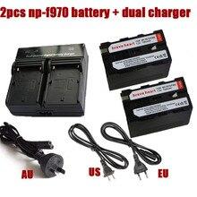 2 unids 7200 mAh bateria np-970 np-960 np 970 np970 batería + cargador doble para sony np-f550 f770 f750 f960 f970 ccd-trv35 DCR-TR7