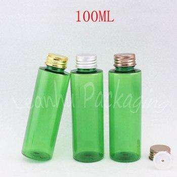 100ML Green Plastic Bottle Aluminum Screw Cap , 100CC Shampoo / Lotion / Water Bottle , Empty Cosmetic Container ( 50 PC/Lot )