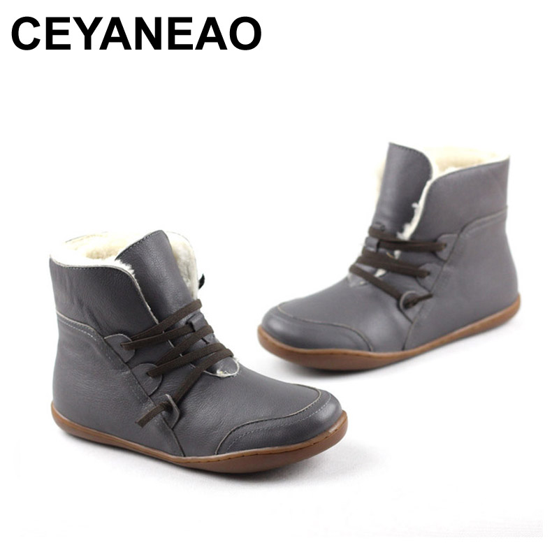 CEYANEAO Women's Boots Winter Shoes Wool Genuine Leather Shoes Round toe Lace up Ladies Ankle Boots Female Footwear K10