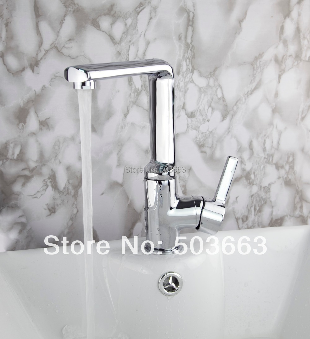 Promotion Swivel 360 Polished Chrome Brass Bibcock Kitchen Faucet Spout Vessel Sink Single Handle Deck Mounted