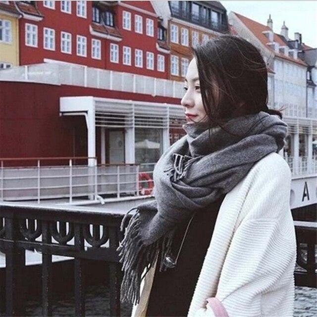 Hohe qualität frauen neue mode Kanada Wolle Schal Solide Unisex Quasten Pashmina dame & männer herbst winter Korean Schals schal wrap