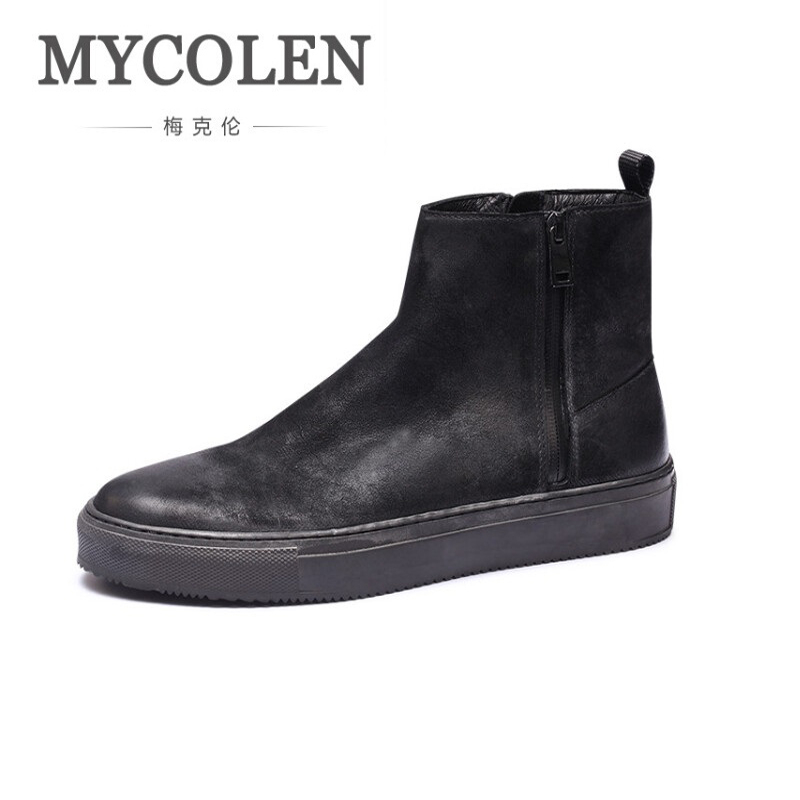 ea5137ba871 MYCOLEN Men Leather Boots Black Fashion Zipper Ankle Boots Winter ...