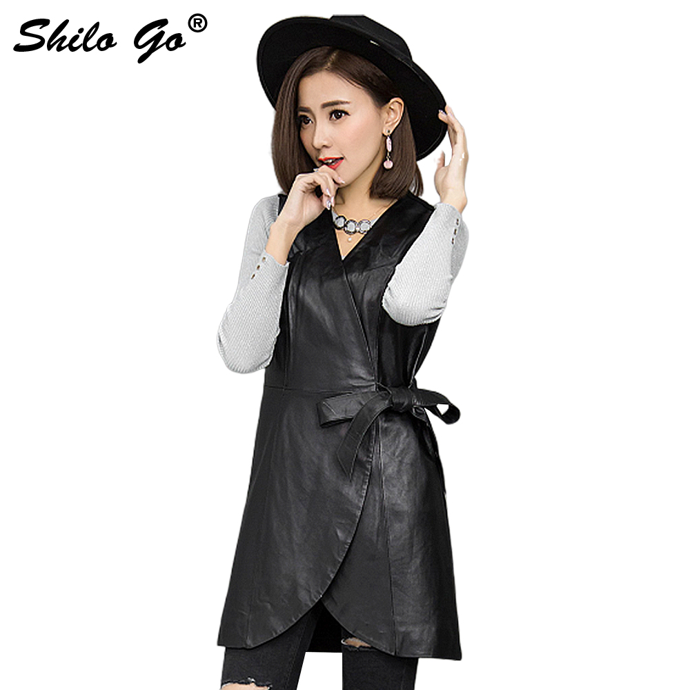 SHILO GO Leather Vest Womens Spring Fashion sheepskin genuine Leather Long Vest V Neck sleeveless side bow belt asymmetrical