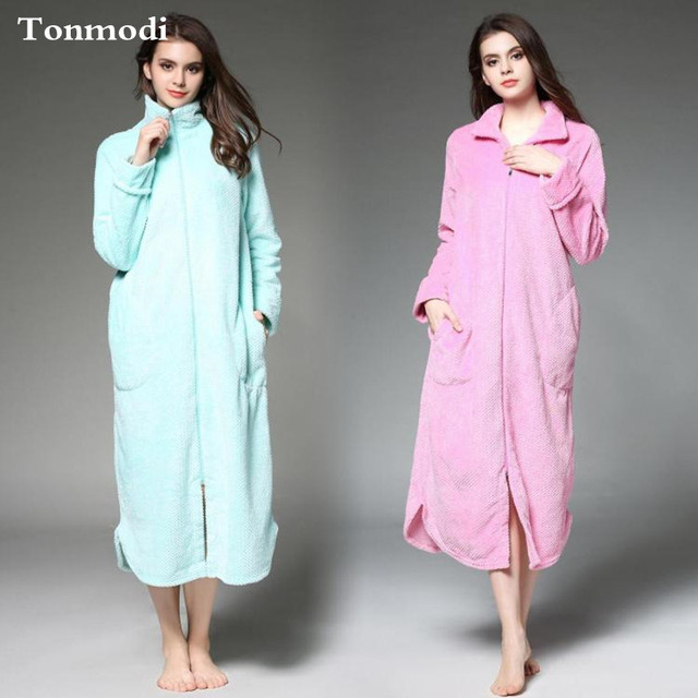 b7b6c14c84 Robe Femme Autumn Winter Thermal Fleece Coral Fleece Zipper Robe Ultra Long  Nightgown lounge robes Plus