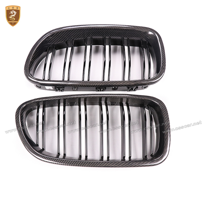 Carbon Fiber Gloss Black M5 Style Front Grille ABS Mesh Inserts Racing Grill for BMW 5 Series F10 520i 523i 525i 530i 535i 2010+