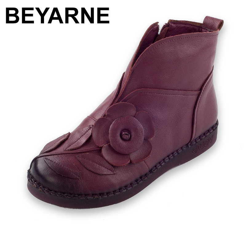 BEYARNE Winter New Fashion Women Genuine Leather Shoes Flowers Handmade Ankle Boots Soft Comfort Flats National Style Short Boot new national wind flowers handmade genuine leather shoes women retro soft bottom flat shoes summer canvas ballet flats k62