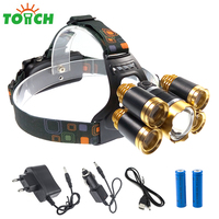 Silver Red Gold Colors Aluminum Alloy CREE XML T6 XPE Q5 5 LED Headlamp 18650 Charging