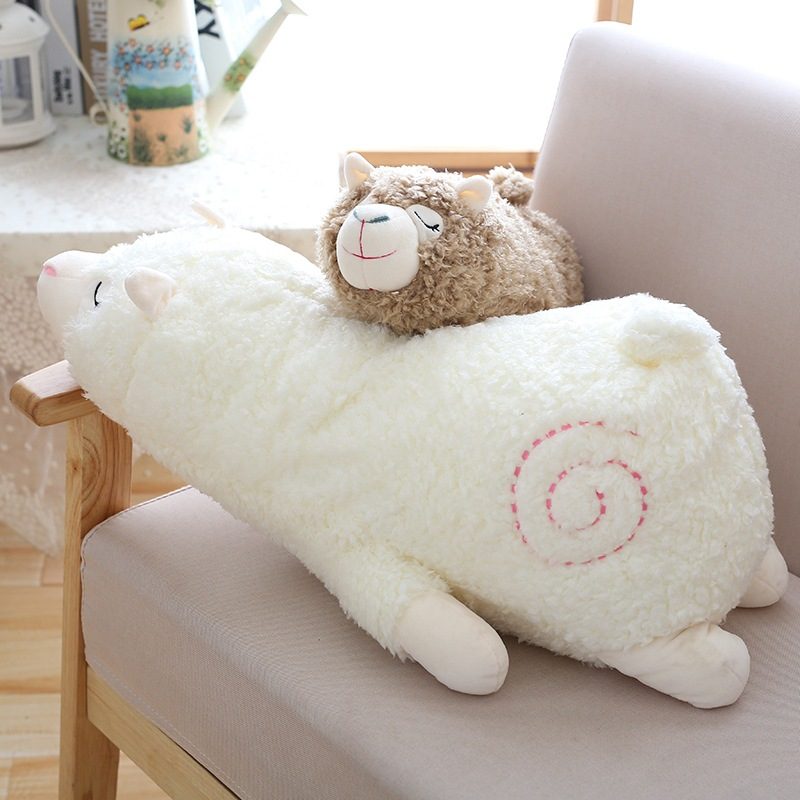 30cm Soft Llama Pillow Cartoon Sleeping Alpaca Plush Toy Fabric Sheep Stitch Stuffed And Soft Animal Toys For Children Gift cute 40cm cartoon alpaca plush toy fabric sheep stitch stuffed and soft animal toys llama pillow birthday gift toys for children