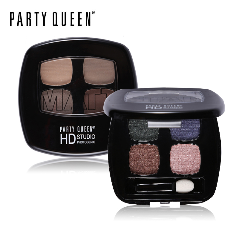 Party Queen Naked Matte Star Color Quad Eyeshadow Palette High Pigment Glamorous Eyes Makeup Smokey Glitter Shimmer Eye Shadow