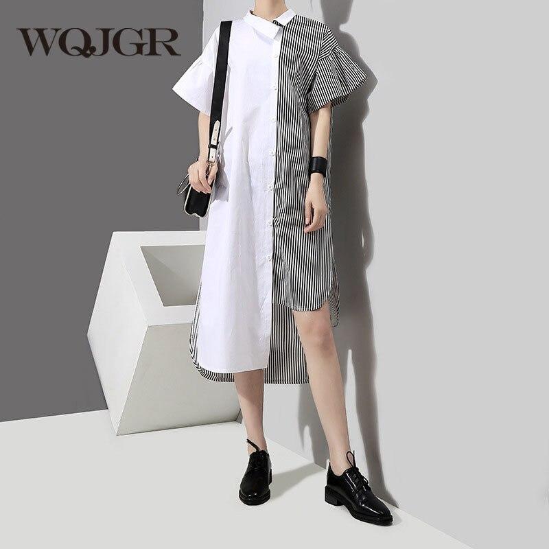 WQJGR 2018 New Summer Dresses Short Flare Sleeve Black Hit Color Striped Split Joint Plus Size DressWomen ...