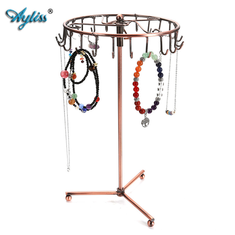 Us 14 59 6 Off Ayliss 23 Hooks European Style Jewelry Rotating Rack Necklace Hanger Earring Display Organizer Stand Holder In