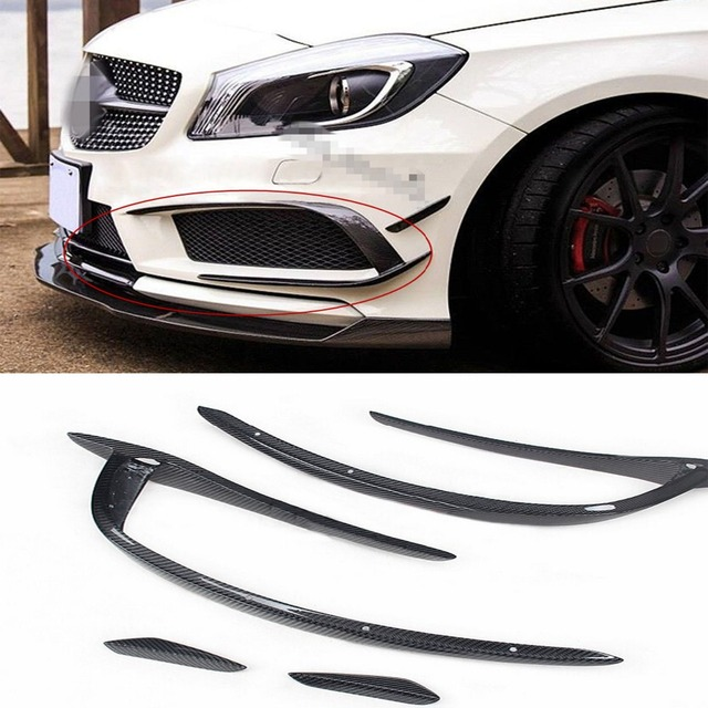 W176 4PCS/SET Carbon Fiber Car Front Side Air Vent Decoration For Mercedes Benz W176 2013-2015